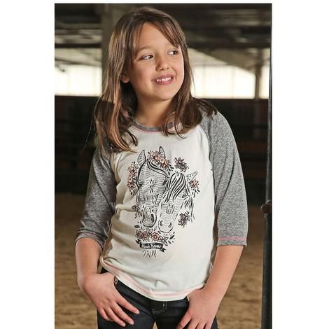 Cruel Girl Grey Horse Baseball Sleeve Girl's Shirt