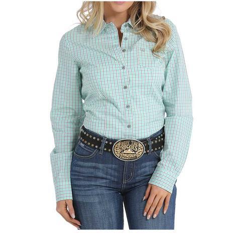 Cinch Womens Mint Plaid Long Sleeve Shirt