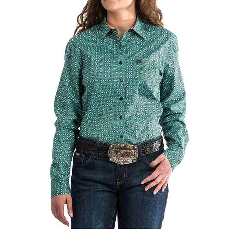 Cinch Womens Turquoise Dot Print Long Sleeve Shirt