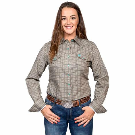 Cinch Womens Brown Turquoise Plaid Long Sleeve Shirt