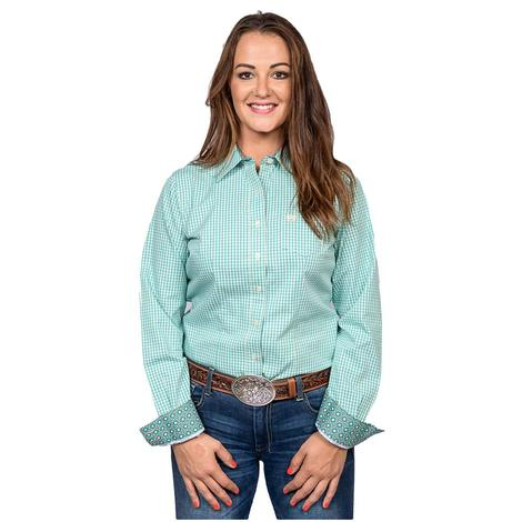 24bf9b05 Cinch Womens Turquoise Plaid Long Sleeve Button Down Shirt ...