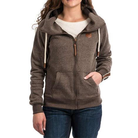 Cinch Heathered Brown Leather Accent Women's Jacket