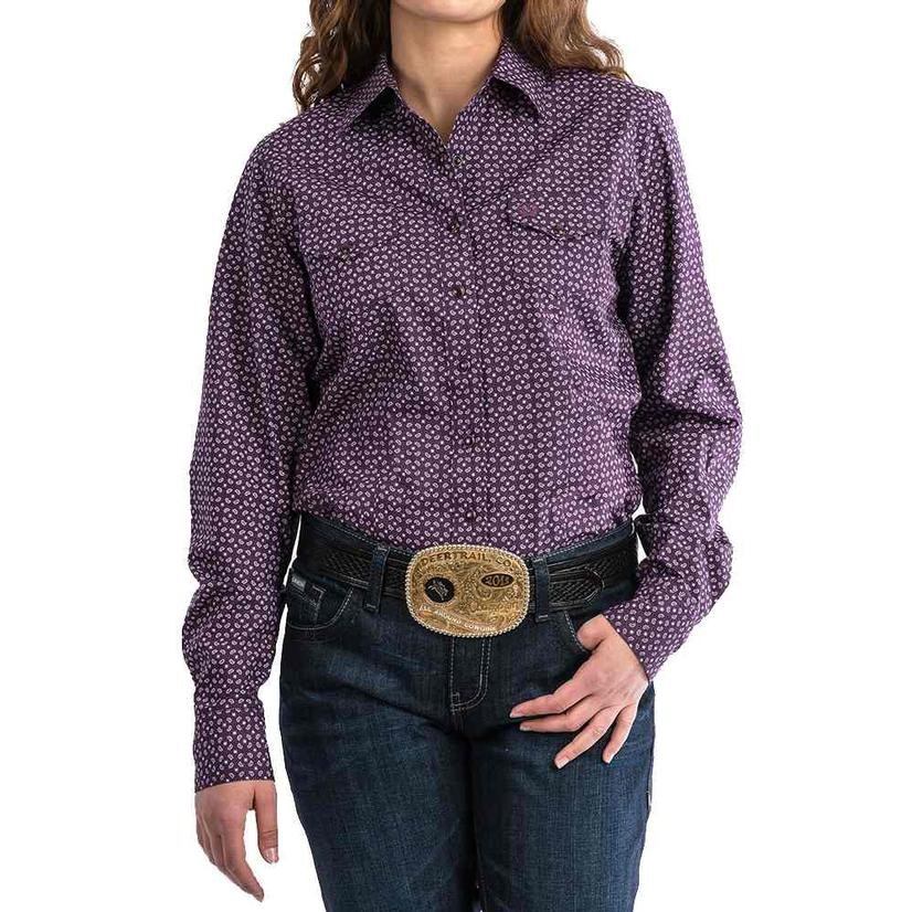 Cinch Dark Purple Geo Print Long Sleeve Button Down Women's Shirt