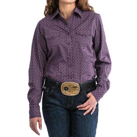 Cinch Dark Purple Geo Print Long Sleeve Button Down Women's Shirt