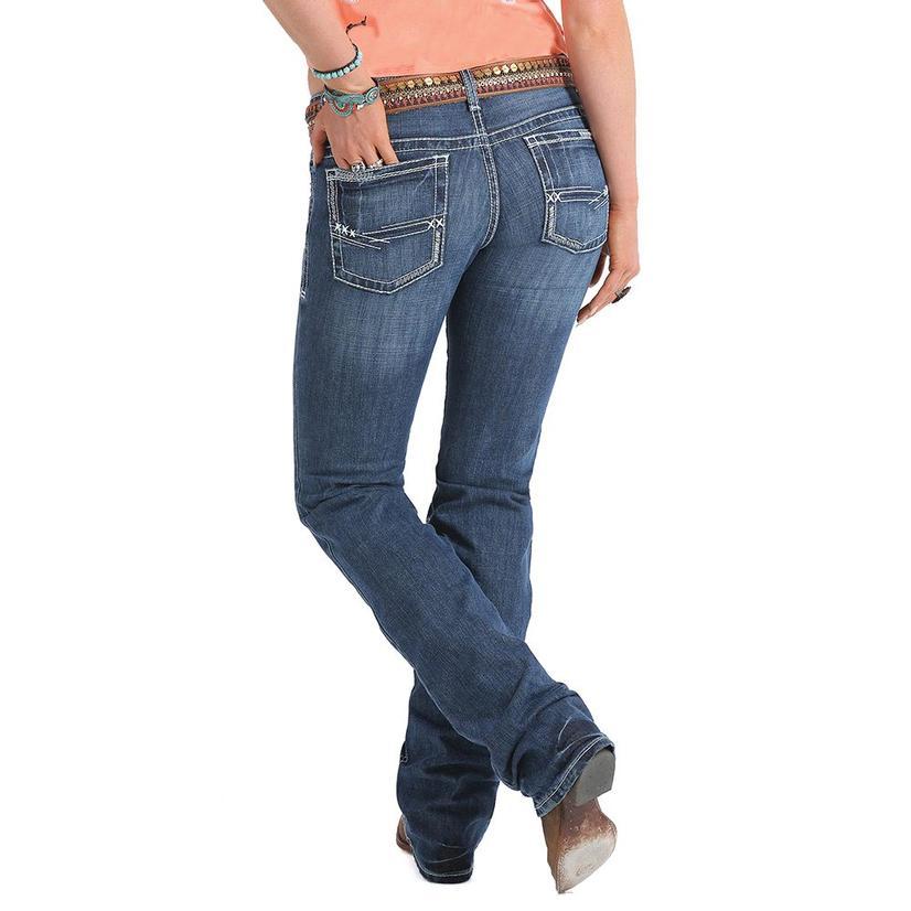 Cruel Girl Womens Abby Mid Rise Medium Wash Jeans