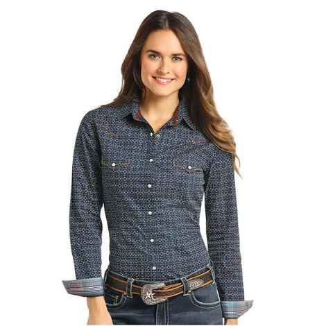 Panhandle Slim Womens Navy Brown Long Sleeve Diamond Shirt