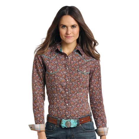 Panhandle Slim Womens Brown Rust Long Sleeve Shirt