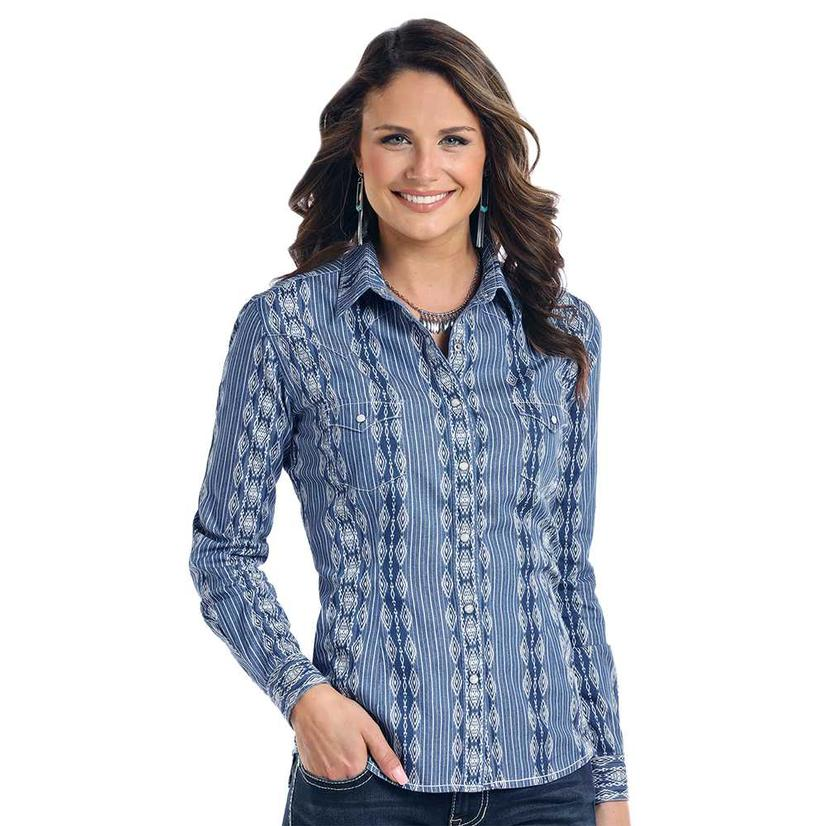 Panhandle Slim Womens Blue Aztec Stripe Print Long Sleeve Shirt