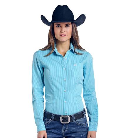 Panhandle Slim Womens Turquoise White Long Sleeve Button Down Shirt