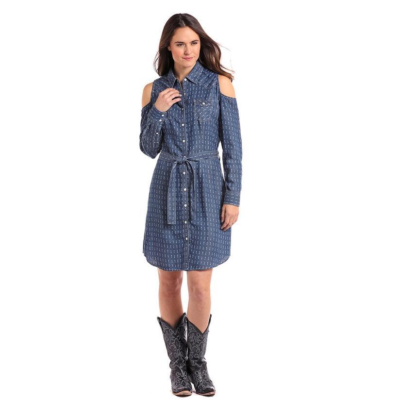 Panhandle Slim Womens Blue Arrow Print Cold Shoulder Dress