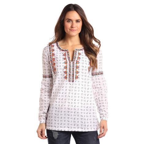 Panhandle Slim Womens White Arrow Print Long Sleeve Orange Embroidery Blouse