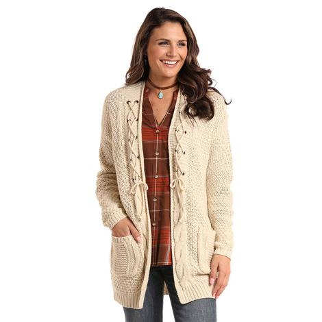 Panhandle Slim Womens Cream Cable Knit Cardigan