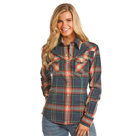 Panhandle Slim Womens Navy Orange Brushed Plaid Snap Shirt