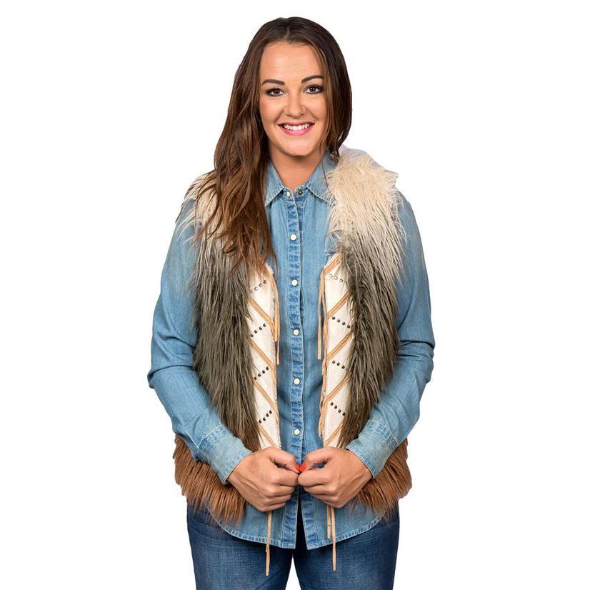 Panhandle Slim Womens Cream Brown Rust Faux Fur Vest