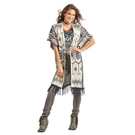 Panhandle Slim Womens White Grey Aztec Print Fringed Wrap