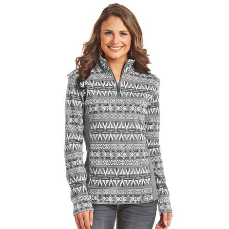 Panhandle Slim Womens Grey White Performance Aztec Print Quarter Zip Pullover