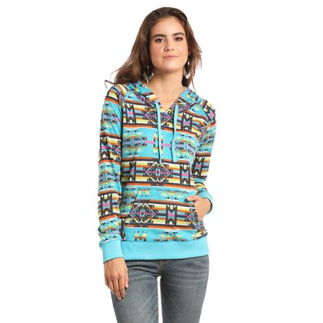 Panhandle Slim Womens Bright Turquoise Aztec Print Hoodie