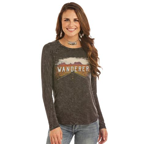 Panhandle Slim Womens Black Long Sleeve Wanderer Tee
