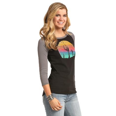 Panhandle Slim Womens Black Grey Cactus Moon Long Sleeve Tee