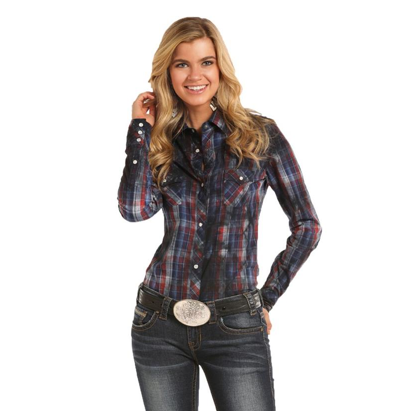 965fa11d6fd Panhandle Slim Womens Red Navy Long Sleeve Plaid Snap Shirt