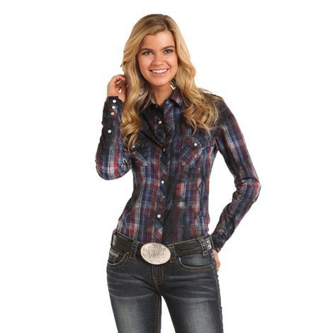 Panhandle Slim Womens Red Navy Long Sleeve Plaid Snap Shirt