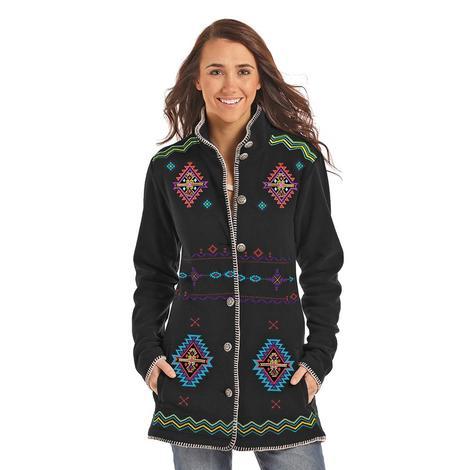 Panhandle Slim Womens Black Aztec Whip Stitch Embroidered Jacket