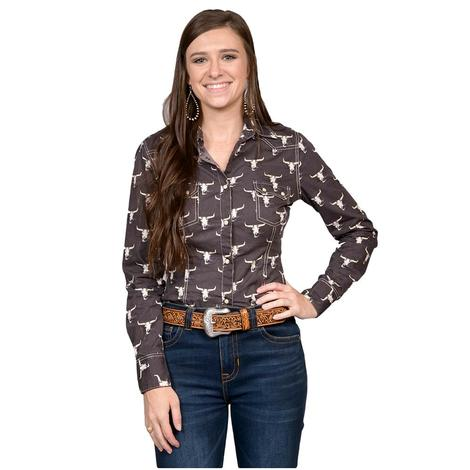 Panhandle Slim Womens Brown Steerhead Long Sleeve Snap Shirt