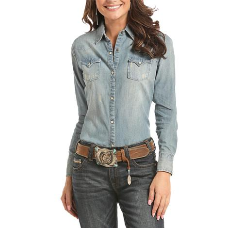 Panhandle Slim Womens Denim Distressed Snap Shirt