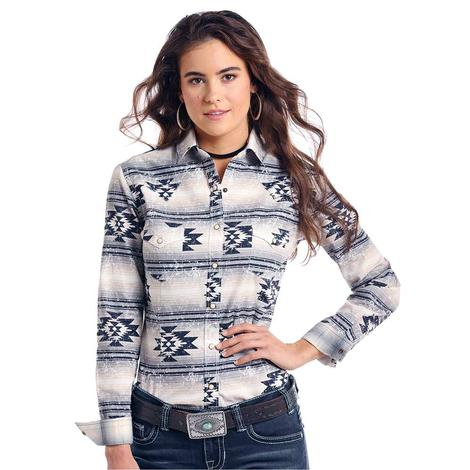 Panhandle Slim Womens Grey Navy Aztec Long Sleeve Shirt