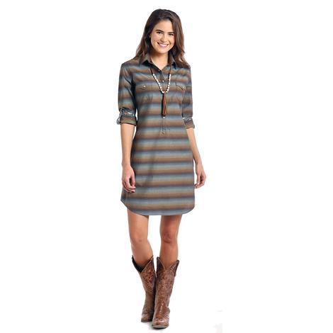 Panhandle Slim Brown Navy Serape Strip Women's Dress