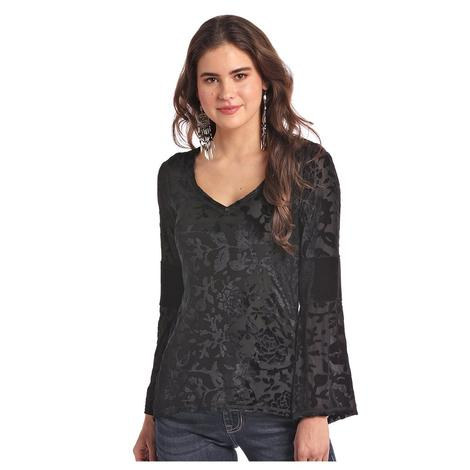 Panhandle Slim Black Velvet Floral Long Sleeve Women's Bouse