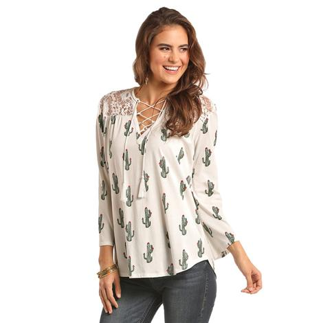 Rock and Roll Cowgirl Womens White Cactus Lace Shoulder Blouse