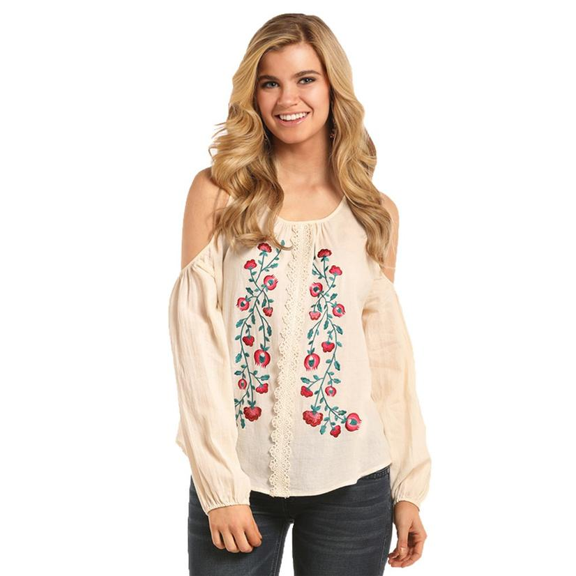 edcf4dbe Rock And Roll Cowgirl Womens Natural Cream Floral Embroidered Blouse