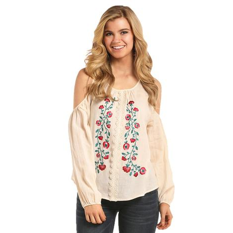 Rock and Roll Cowgirl Womens Natural Cream Floral Embroidered Blouse