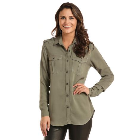 Rock and Roll Cowgirl Olive Long Sleeve Collared Shirt