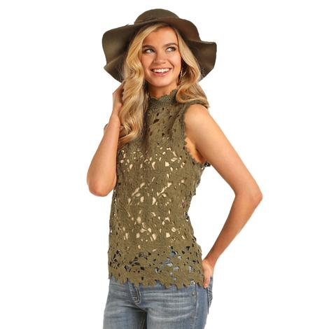 Rock and Roll Cowgirl Womens Olive Lace High Neck Tank Top