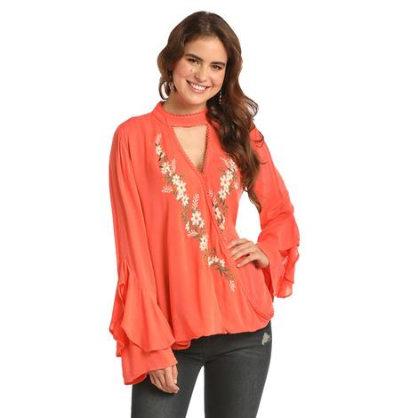 Rock and Roll Cowgirl Coral High Neck Embroidered Bell Sleeve Women's Top