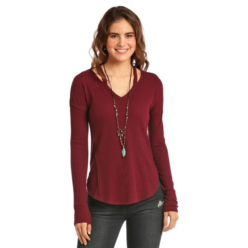 Rock And Roll Cowgirl Maroon Long Sleeve Solid Women's Shirt