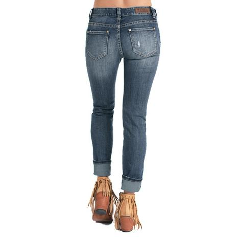 Rock and Roll Cowgirl Dark Vintage Multi Patch Women's Distressed Jeans