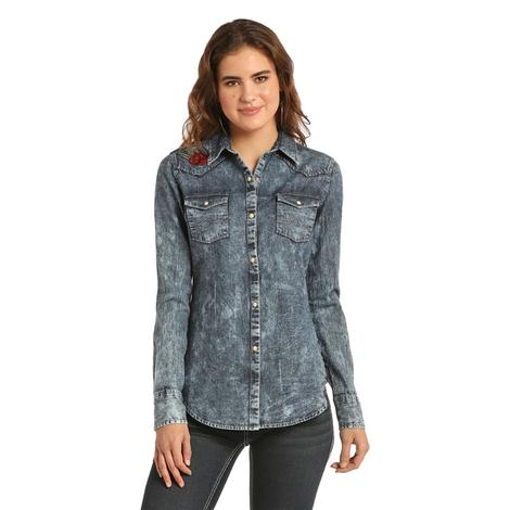 Rock and Roll Cowgirl Washed Denim Rose Embroidered Women's Shirt