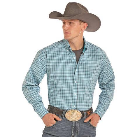 Panhandle Slim Mens Tuf Cooper Blue Grey Plaid Long Sleeve Shirt