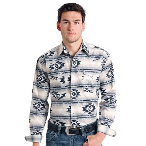 Panhandle Slim Mens Grey Navy Aztec Long Sleeve Shirt