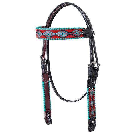 Rafter T Ranch Browband Headstall Embroidered Aztec