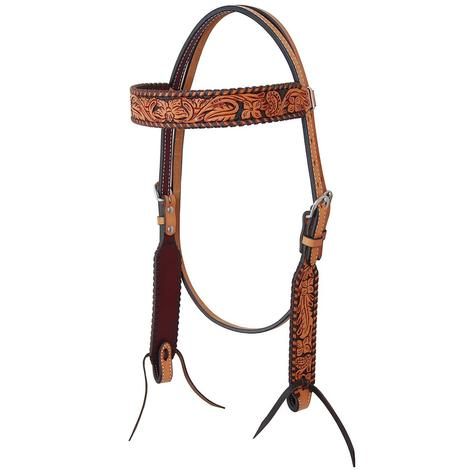 Rafter T Ranch Browband Headstall Floral Tooled