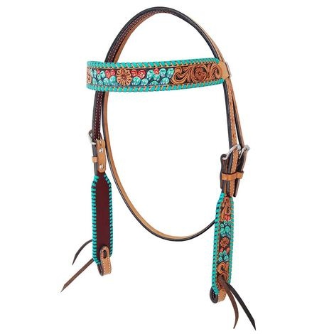 Rafter T Ranch Browband Headstall Painted Cactus