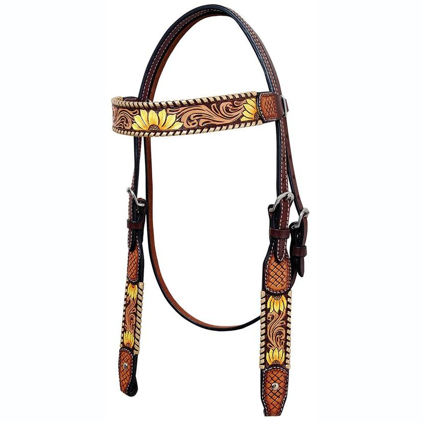 Rafter T Ranch Browband Headstall Painted Sunflower
