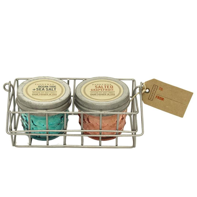 Paddywax Relish Wire Gift Caddy Set - Oceantide Seasalt And Salted Grapefruit