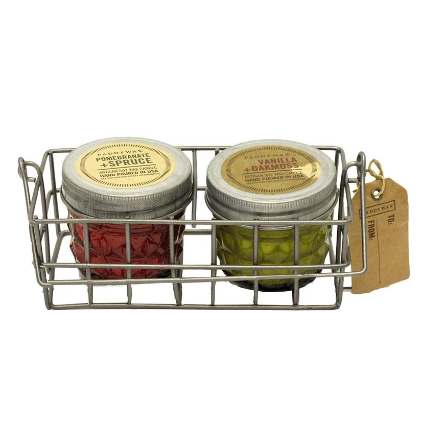 Paddywax Wire Gift Caddy Set - Pomegranate Spruce And Vanilla Oakmoss Candles