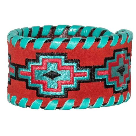 Rafter T Ranch Embroidered Aztec Cuff Bracelet
