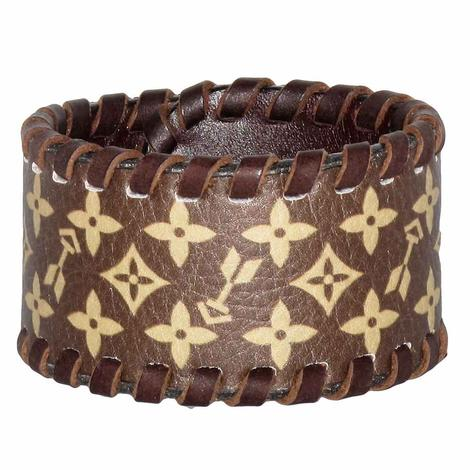 Rafter T Tooled Cuff Bracelet w/Brown Design